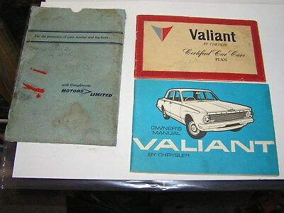 Valiant Ap5 , 1963 Owner's Manual. ( Glove Box ) . With Service Booklet & Folder