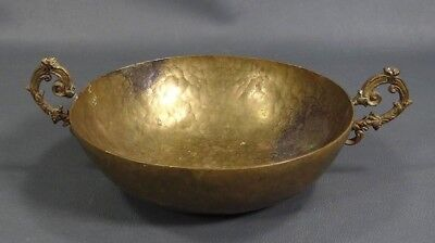 19c. Antique Victorian Hand Hammered Brass Ornate Scroll Handles Bowl Dish Metal
