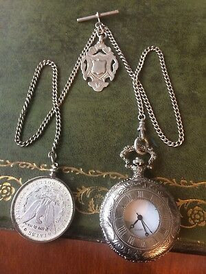 Solid Silver Double Vintage Albert chain