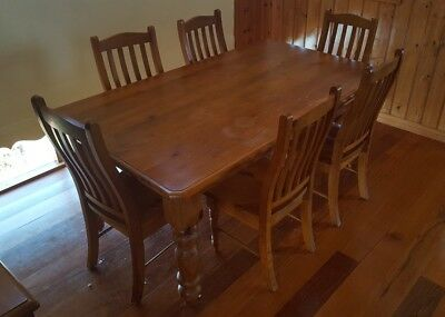 Solid pine dining table setting with 6 chairs