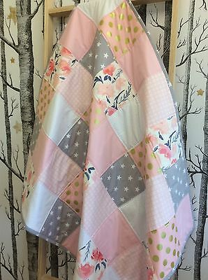 Baby Girl Pink Gold & Grey Hand Made Patchwork Cot / Toddler Quilt