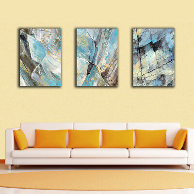 Framed Canvas Prints Stretched Abstract Blue Black Yellow Wall Art Home Decor