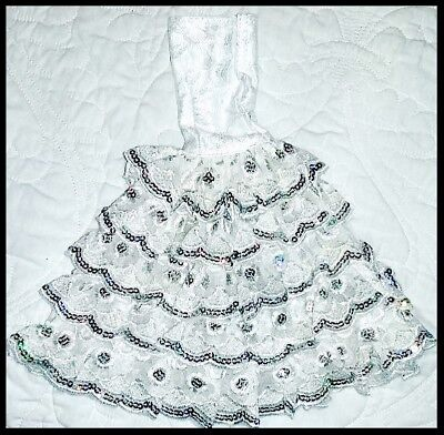 Barbie Doll Clothes GLAMOUR White Sequinned Dress/Wedding/Party/Evening/Clothing