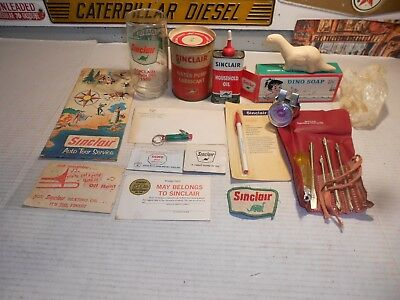 Vintage Lot of SINCLAIR GAS STATION Advertising ITEMS~Lot of 15 DEALER Related