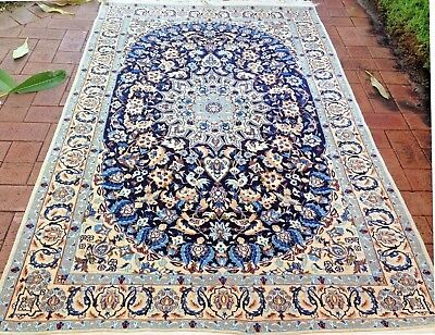Persian Nain 6 La Authentic Hand-Knotted Wool and Silk Rug (132 cm x 205 cm)