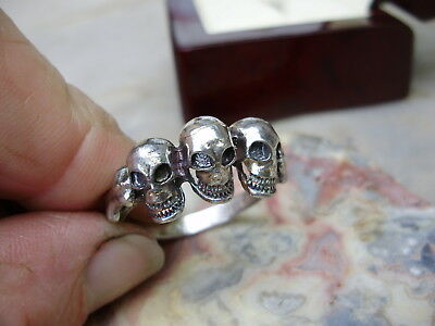 Old English vintage sterling silver skull ring, large size 11.5