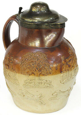 English stoneware jug with silver rim and  lid, Thomas Lamborn, Sheffield, 1802