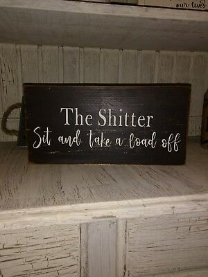 funny bathroom sign rustic home decor hand made farmhouse primitive humor