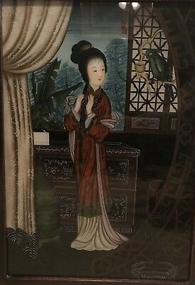 """Vintage Chinese Reverse Painting On Glass-Asian Girl With Parrot-27 1/2x19 1/2"""""""