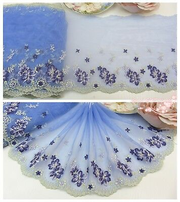 "7""*1Y Embroidered Tulle Lace Trim~Wisteria Blue+Light Green+Deep Purple~Sewing~"