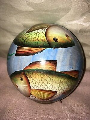 Unusual Painted Wooden Globular Ornament Decorated With Carps/Fish Japanese (?)