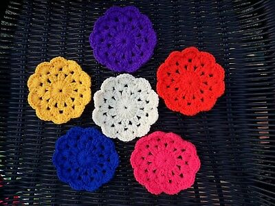 Cup Mat Coasters for Table  Tea Drinks pink flower Handmade crochet Set 4