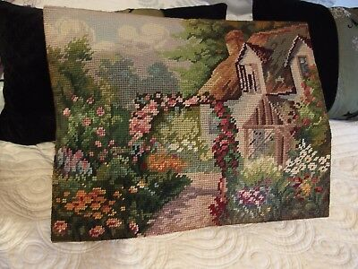Vintage hand worked tapestry country house cushion front or picture