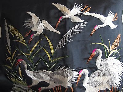 antique Chinese silk hand embroidery cranes cushion front or picture