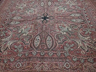 antique woven wool shawl or throw textile