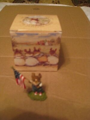 cute WEE FOREST FOLK MICE, HOME GROWN STARS AND STRIPES, FB-5A mouse with box