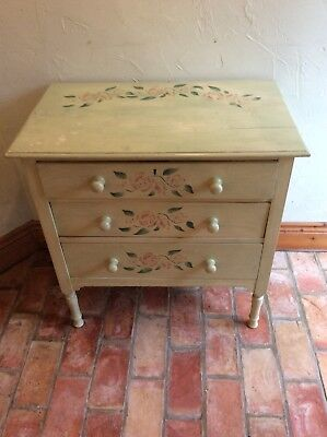 Vintage Painted Green & Stencilled Farmhouse Chest Of 3 Drawers /cabinet Upcycle