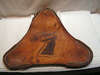 Vintage Horse Design Leather Seat For 3 Legged Leather Stool Mexico (SEAT ONLY)