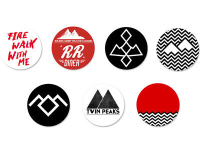 Lot Pack Badge Button Pins Ø25mm Logo Twin Peaks
