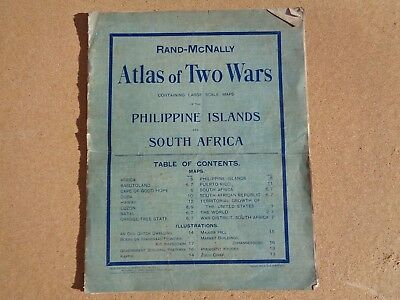 Antique 1899 Rand McNally Atlas of Two Wars