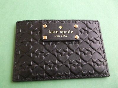 Kate Spade Penn Place Embossed Leather  Credit  Card Holder Case Mini Wallet NWT