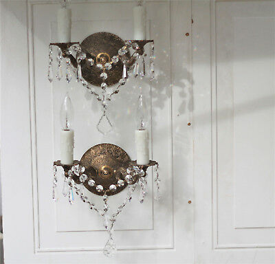 Vintage Antique Pair of Crystal Brass Ornate Sconces