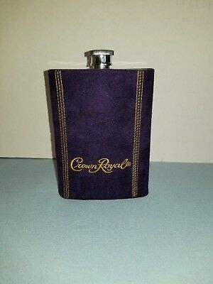 One (1) Crown Royal Stainless Steel 8 oz. Flask with Purple Fitted Cover
