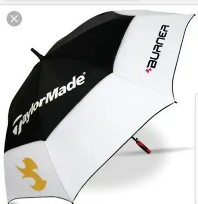 """Bnwot Taylormade Burner Double Canopy 64"""" Gustbuster Golf Umbrella Black White"""