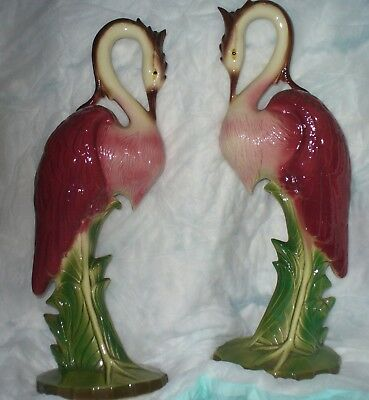 Flamingo Pottery Figurines Large Pair  Art Deco Moderne Art Retro 1950's Birds