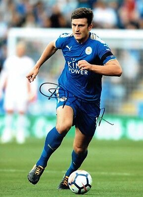 Harry MAGUIRE Signed Autograph 16x12 Photo 4 AFTAL COA Leicester City England