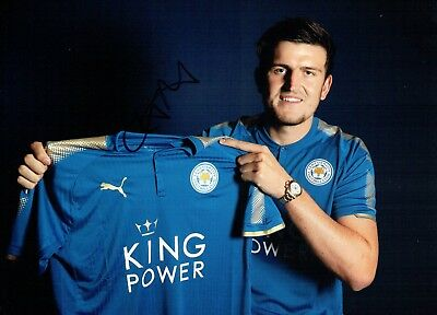 Harry MAGUIRE Signed Autograph 16x12 Photo 5 AFTAL COA Leicester City England