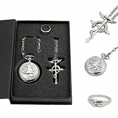 Full Metal Alchemist Pocket Watch Men Accessories Necklace Ring Anime Cosplay