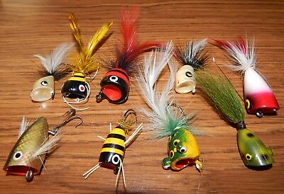 9) Old Fly Rod Popper Top Water Lures All Different Great Colors Some Frogs Lqqk