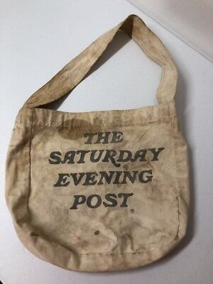 Authentic Vintage Saturday Evening Post News Paper Canvas Carrier Bag As Is