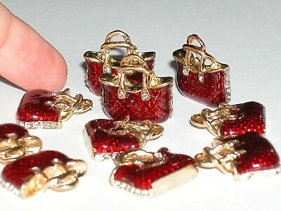 2pc Miniature doll hand bag Purse tiny Golden flatback charms Crystal 20mm NEW*