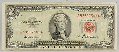 1953A  Series United States Note Red Seal $2 Two Dollar Bill