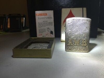 Vintage Sterling Silver Engraved Full Size Zippo Lighter