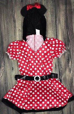 Minnie Mouse Disney Girl's Large (12-14) Costume Dress Red Halloween Dress Up