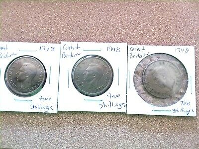 1948-1949  GREAT BRITAIN TWO SHILLINGS!--5 coin lot----