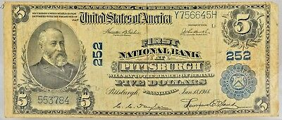 PITTSBURGH Series 1918 FEDERAL RESERVE $5.00 NATIONAL BANK NOTE  NO RESERVE