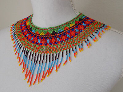 Mexican Bead Necklace Huichol Choker Collar Folk Art Rainbow Jewelry Mothers Day