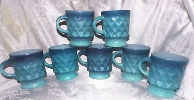 VINTAGE FIRE KING COFFEE CUPS MUGS LOT 7 PC KIMBERLY DIAMOND POINT BLUE COLOR d