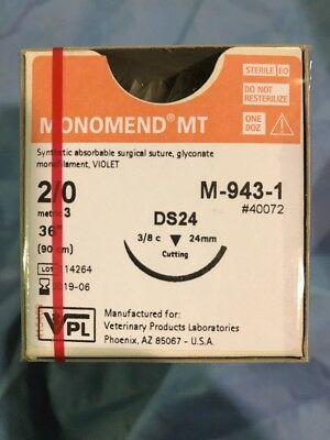Veterinary Products Laboratories (VPL) M-943-1 Monomend 2/0 Absorbable Suture