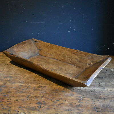 Antique Dough Trough - Wooden Bowl Rustic Hand Carved Rectangular Dough Bin