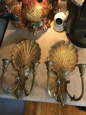 Beautiful Brass Pair Candle Sconces Scallop Shell Motif Ornate