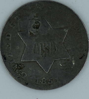 1851 3c Silver Counterstamped Good