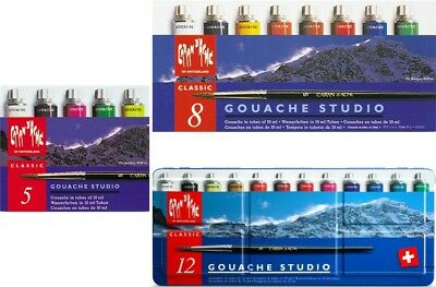 Caran d'Ache Gouache Studio | 10ml Tube Sets | Assortment of 5 | 8 | 12