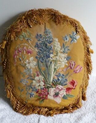 Antique 19th Century floral tapestry cushion with gold bullion fringe