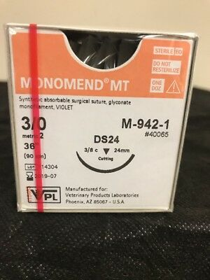 VPL, Veterinary Product Laboratories M-942-1 Monomend MT Absorbable Suture 3/0