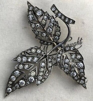Antique/vintage Sterling Silver Leaf Diamond Paste Brooch/pin